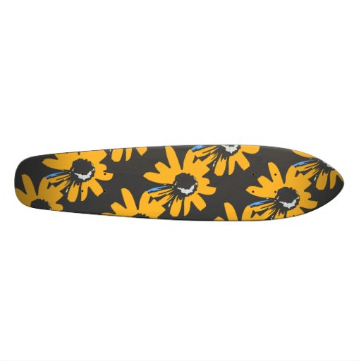 Mod daisy ochre, black and blue custom skateboard