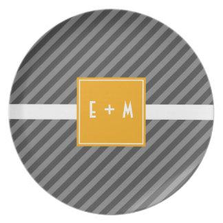 Mod Diagonal Stripe Gray and Orange Melamine Plate