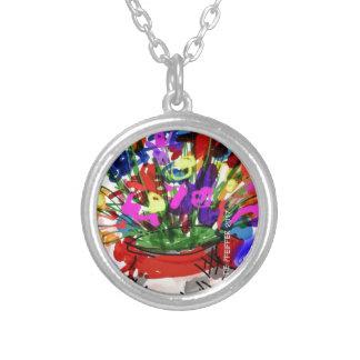 Mod Digital Flower Bouquet 2017 Silver Plated Necklace