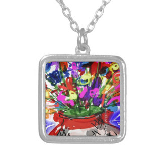 Mod Digital Flower Bouquet 2017 Silver Plated Necklace