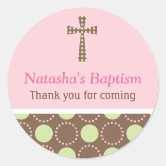 Mod Dots Baptism Round Sticker