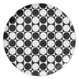 Mod Dots Black & White Dinnerware Custom Plate