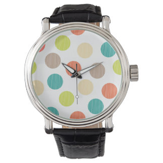 Mod Dots Hand Drawn Doodle Teal Orange Circles Watch