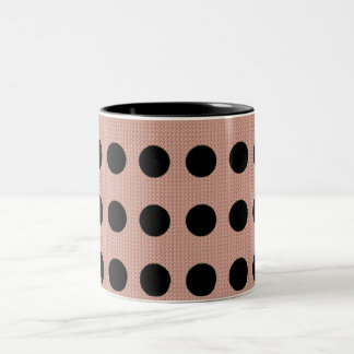 "'Mod Dot's "" Pnk Fabric* Blk Dots Two-Tone Coffee Mug"