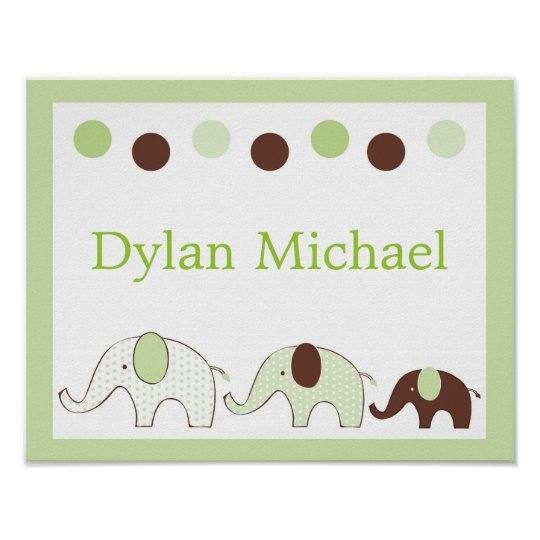 Mod Elephant Green Nursery Wall Art Name Print