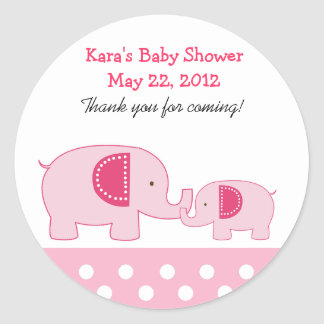 Mod Elephants Pink Round Favor Sticker