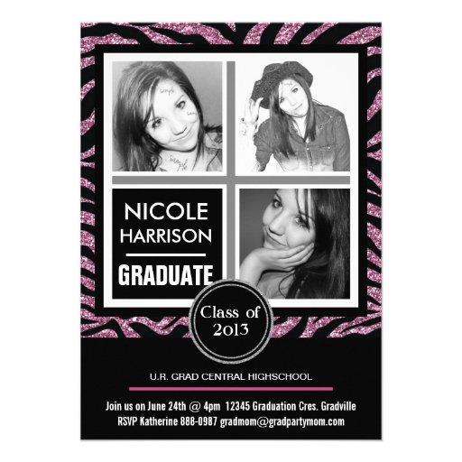 Mod Faux Pink Glitter Zebra 3 Photo Graduation Personalized Announcement