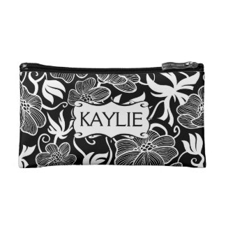 Mod  Floral in Black and White Personalized Cosmetic Bag