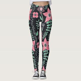 Mod Floral - Pink on Black Background Leggings