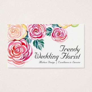 Mod Floral Roses Modern Art Flower Weddings Business Card