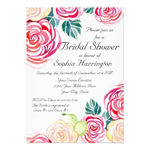 Mod Floral Roses Modern Art Flower Weddings Personalized Invitations