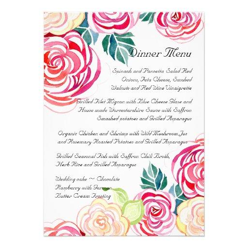 Mod Floral Roses Modern Art Flower Weddings Personalized Invites