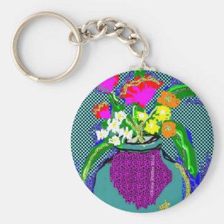 Mod Flower Bouquet When Im Feeling blue Keychain