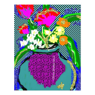 Mod Flower Bouquet When Im Feeling blue Letterhead