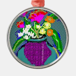 Mod Flower Bouquet When Im Feeling blue Metal Ornament