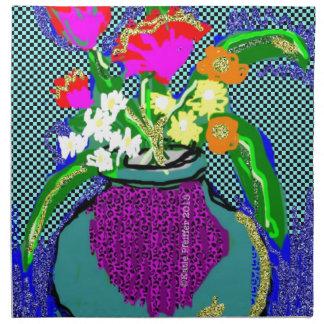 Mod Flower Bouquet When Im Feeling blue Napkin