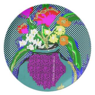 Mod Flower Bouquet When Im Feeling blue Plate