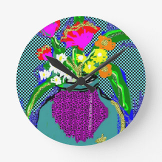 Mod Flower Bouquet When Im Feeling blue Round Clock