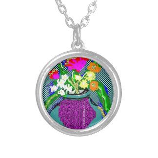 Mod Flower Bouquet When Im Feeling blue Silver Plated Necklace