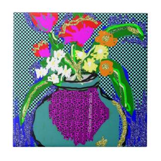 Mod Flower Bouquet When Im Feeling blue Tile