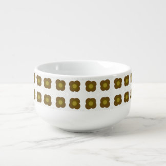 Mod flower design pattern soup bowl with handle