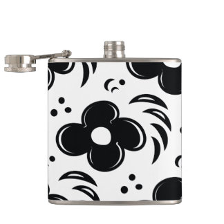 Mod Flower Pattern Black and White Flasks