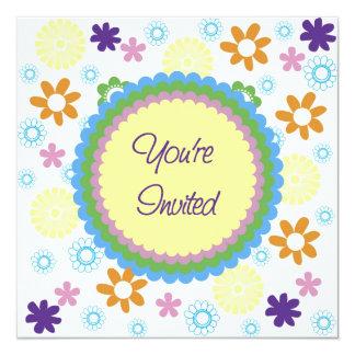 Mod Flowers Birthday Sleepover Invitation