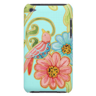 Mod Flowers Cute Fun Bird Floral Swirl Pattern Art Barely There iPod Cover