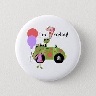Mod Frogs 1st Birthday 2 Inch Round Button