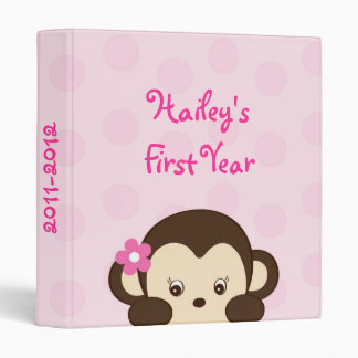 Mod Girl Monkey Baby Photo Album Scrapbook 3 Ring Binders