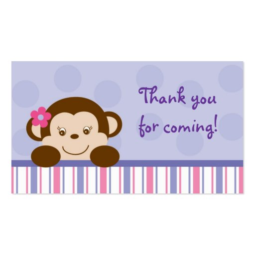 Mod Girl Monkey Monkey Party Favour Gift Tags Business Cards