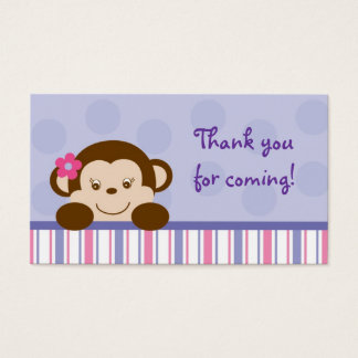 Mod Girl Monkey Monkey Party Favour Gift Tags Business Card