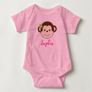 Mod Girl Monkey Personalized Baby Creeper T-Shirt
