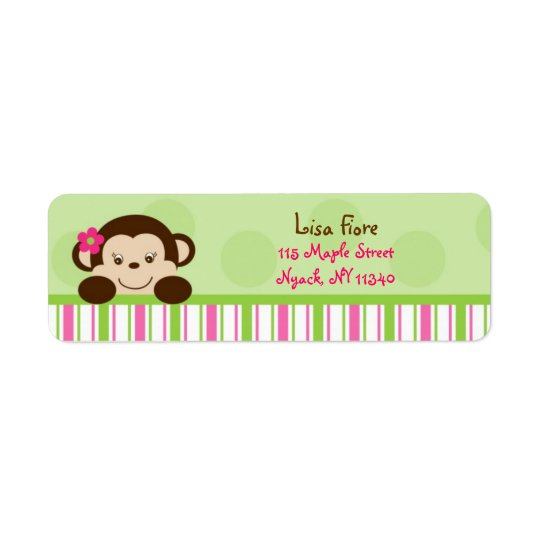 Mod Girl Monkey Pink Green Address Labels