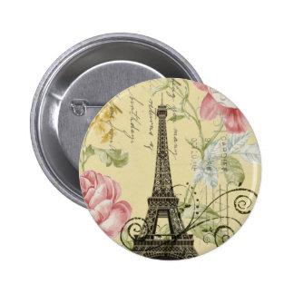 Mod Girly  floral Vintage Paris Eiffel Tower 2 Inch Round Button