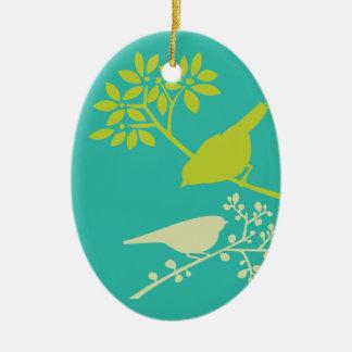 Mod Green Birds Ceramic Ornament