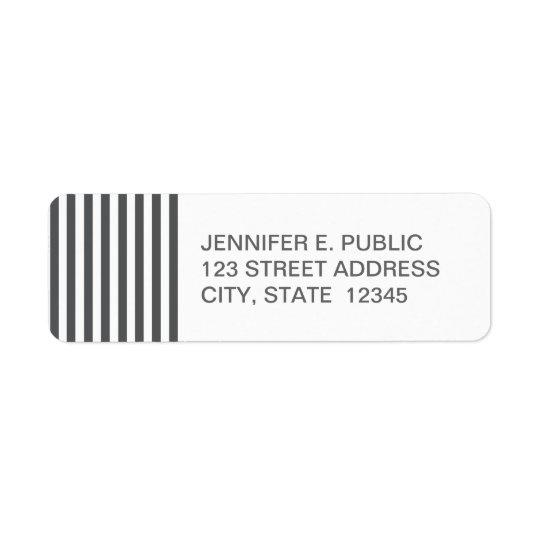 Mod Grey Stripes Pattern Return Address Label