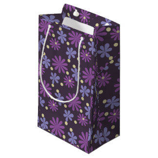 Mod Groovy flowers in lilac and purple Small Gift Bag