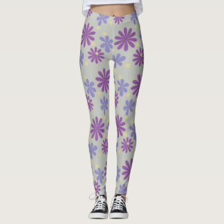 Mod groovy flowers lilac and purple on grey leggings