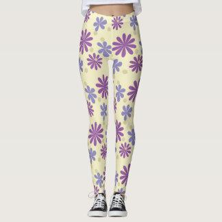 Mod groovy flowers lilac and purple on ivory leggings