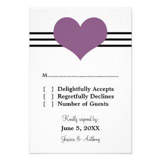 Mod Heart Wedding Response Card, Purple