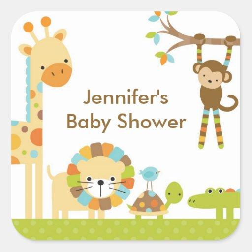 Mod Jungle Safari Baby Shower Stickers Square Sticker