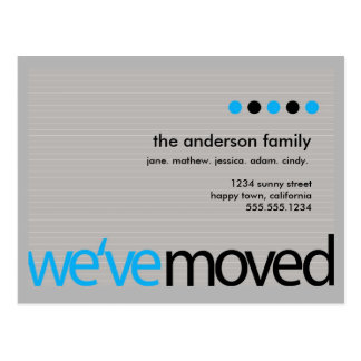 Mod  - Just Moved Striped Announcement Postcard