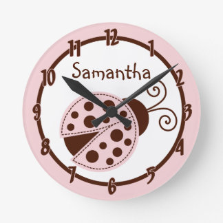 Mod Lady Bug Pink Brown Insect Personalized Clock