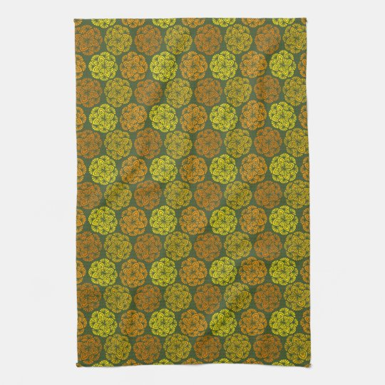 Mod Marigolds Floral Pattern Kitchen Towel
