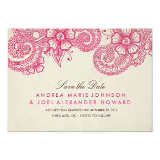 Mod Mehandi Wedding Save the Date 5x7 Paper Invitation Card
