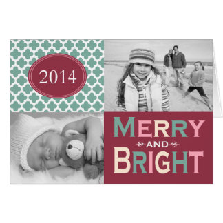 Mod Merry and Bright Colorful Folded Holiday Card