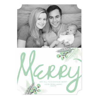 """Mod Merry Berries Holiday Photo Card 5"""" X 7"""" Invitation Card"""