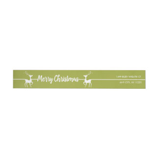 Mod Merry Christmas Reindeer, you choose color! Wrap Around Label