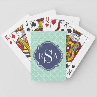 Mod Mint Green Trellis Blue Monogram Poker Deck